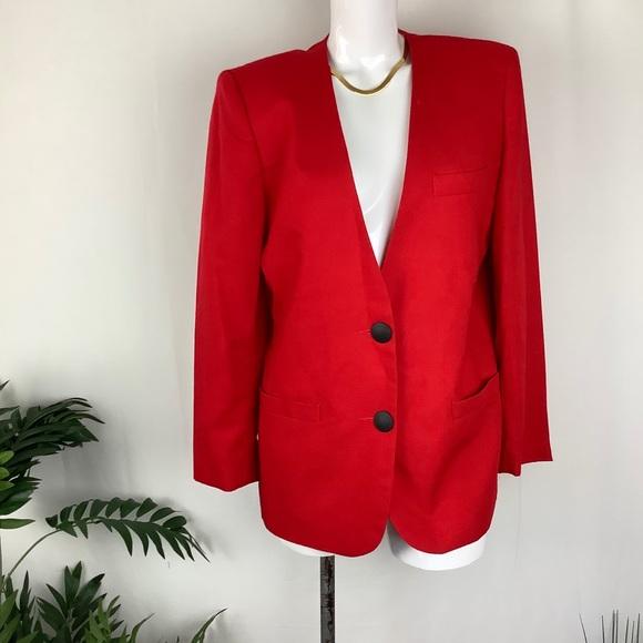 Leslie Fay Vintage Red Blazer Jacket Size 10P